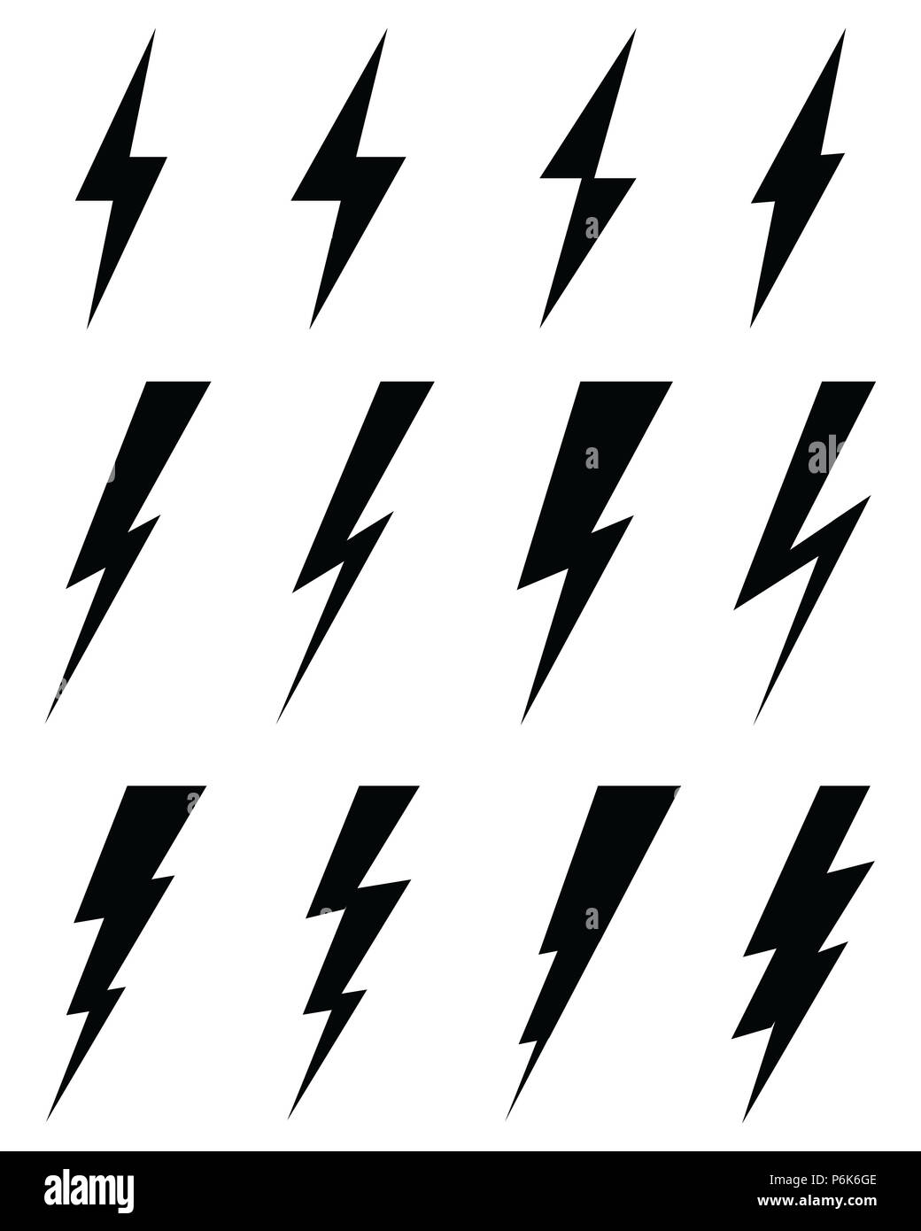 Black Icons Of Thunder Lighting On A White Background
