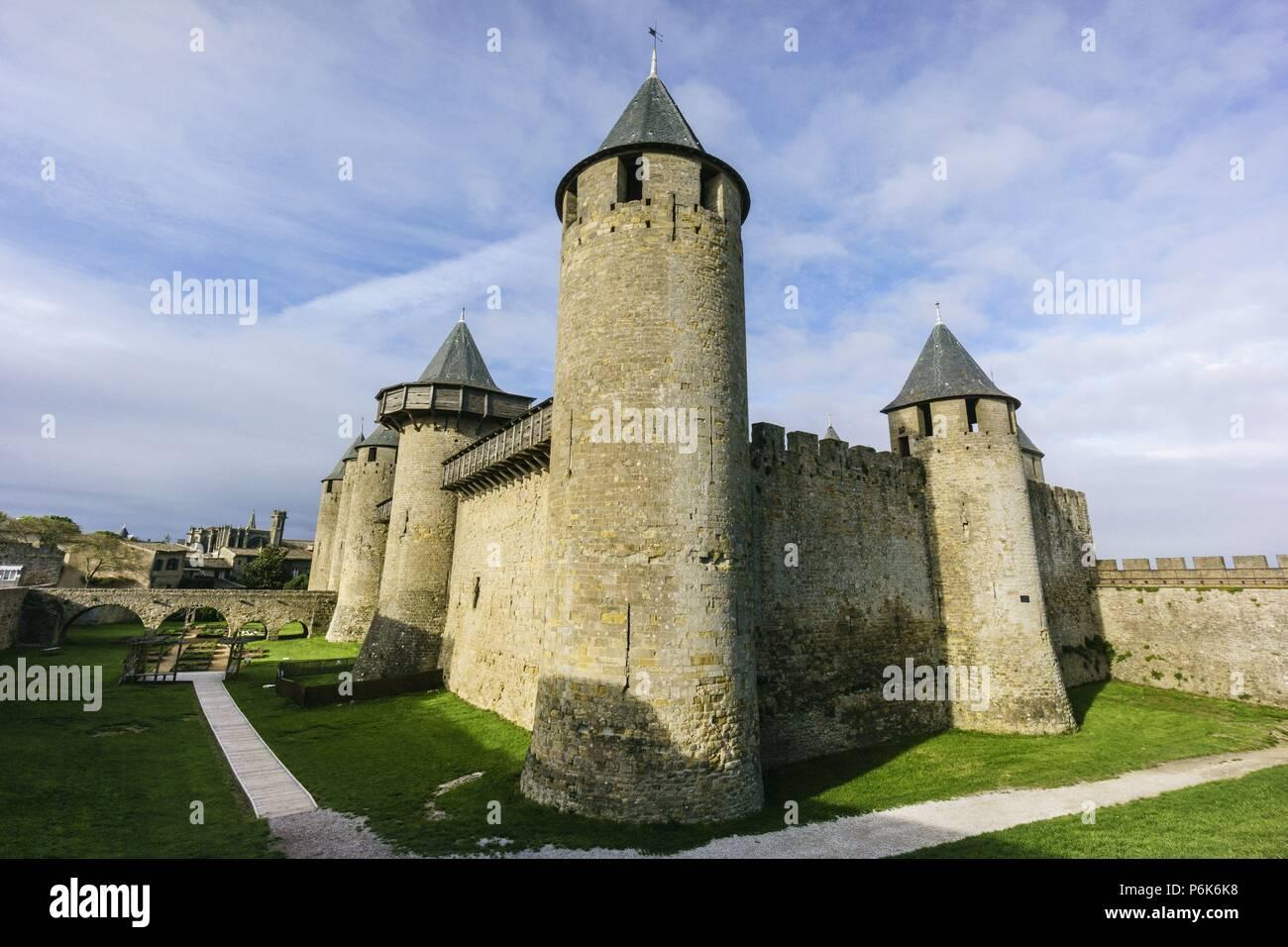 ciudadela amurallada de Carcasona , declarada en 1997 Patrimonio de la Humanidad por la Unesco, capital del departamento del Aude, region Languedoc-Rosellon, Francia, Europa. - Stock Image