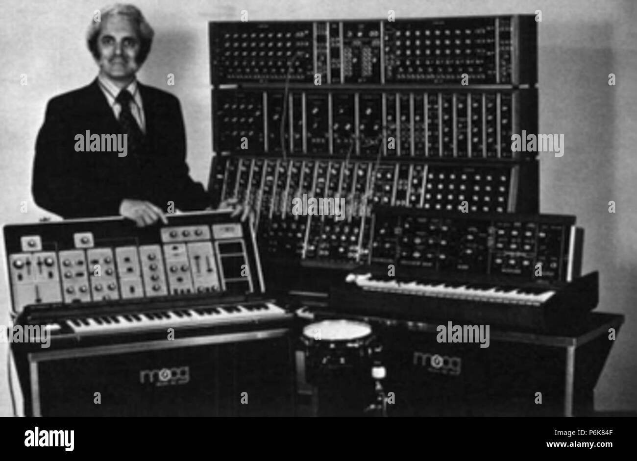 Moog synthesizers in the early 1970s right: Historical Moog synthesizers - Stock Image