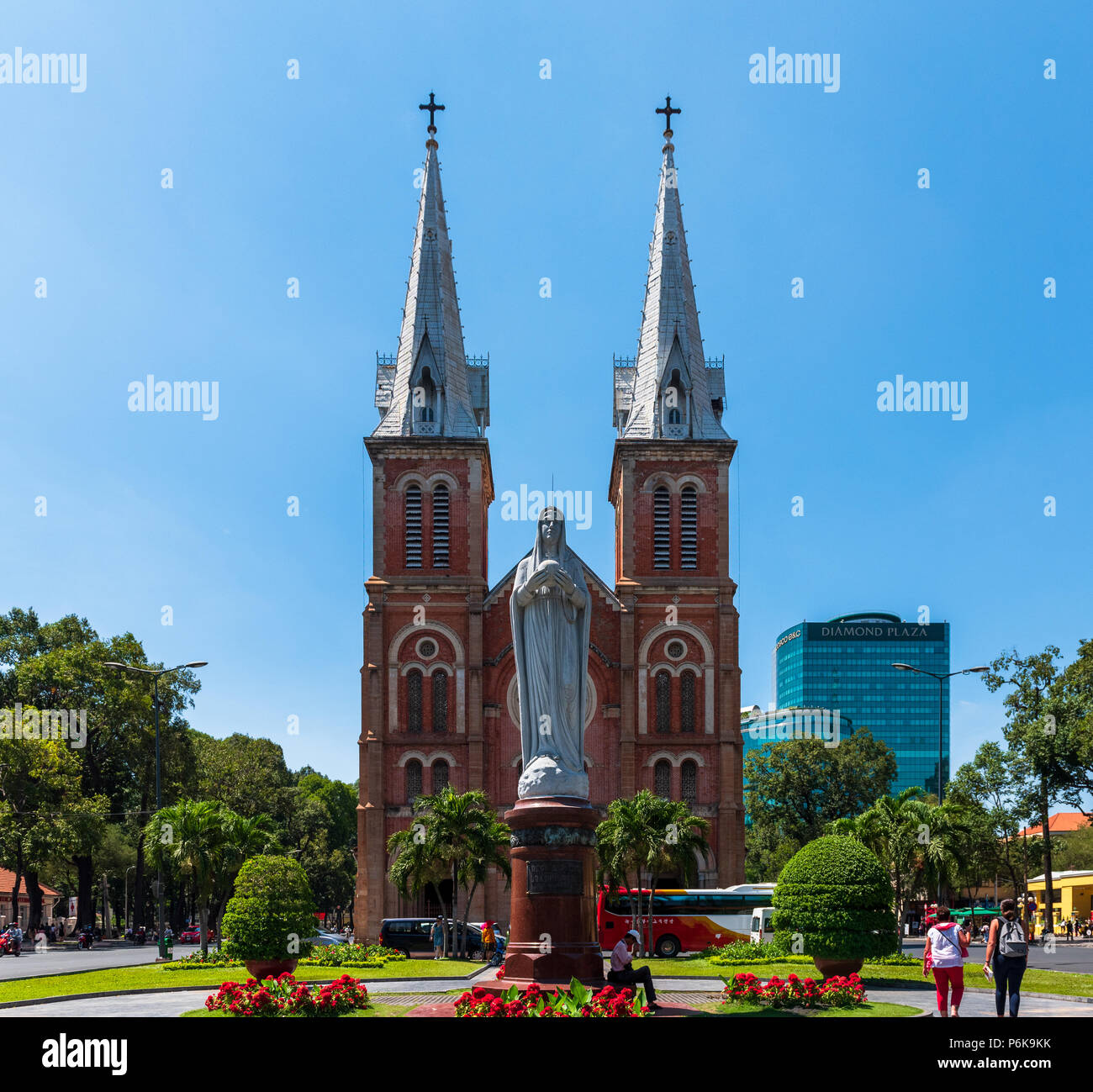 Saigon, Vietnam--March 19, 2016.  The Notre Dame Cathedral Basillica in Ho Chi Minh City (formerly Saigon). - Stock Image