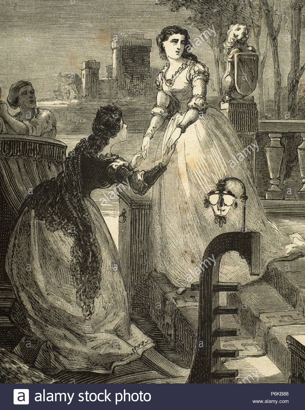 William Shakespeare (1564-1616). English writer. Romeo and Juliet.  Adventures of a night. Engraving by Gomez, 1868.