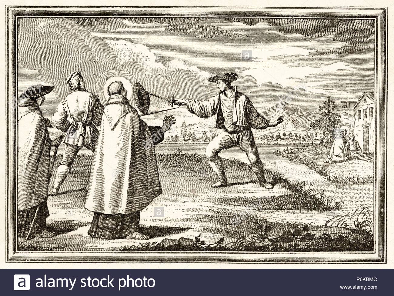 Vida de San Juan de la Cruz (1542-1591). Reconcilia y convierte a Dios a  dos hombres que se batían en duelo. Grabado de 1890.
