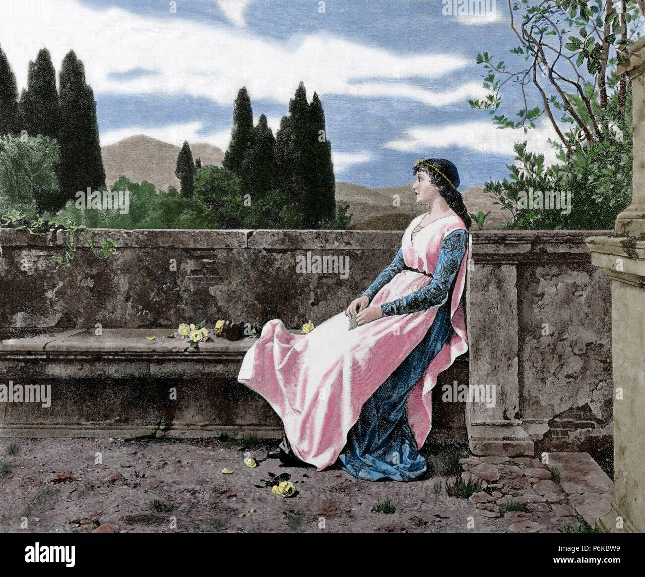 Matilda of Tuscany or Matilda of Canossa (1046-1115). Italian noblewoman. Supporter of Pope Gregory VII during the Investiture Controversy. Engraving by R. Brend'Amour. La Ilustracion, 1887. Colored. - Stock Image