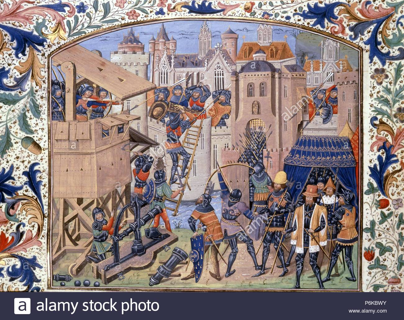 Hundred Years War between France and England 1339-1453, Siege of Ribodane with cannon and Longbow from Chronicles of England by Jean de Wavrin, 14-1500. Artwork also known as: CHRONIQUE D'ANGLETERRE. Museum: BRITISH LIBRARY. - Stock Image