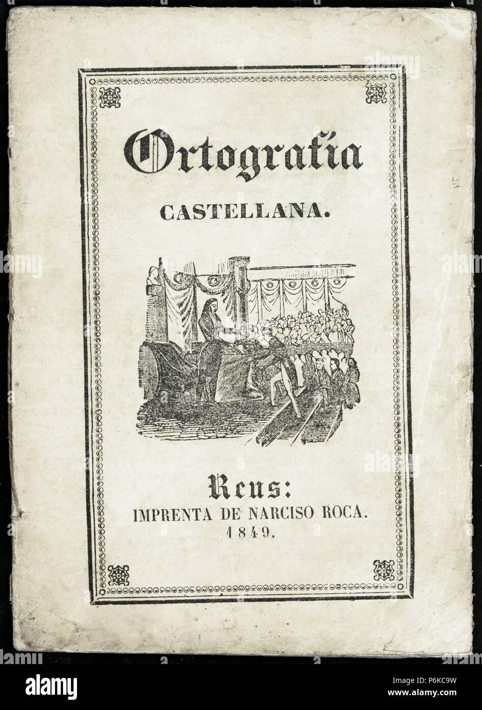 Portada del Manual de Ortografía castellana. Publicado en Reus, 1849. Stock Photo