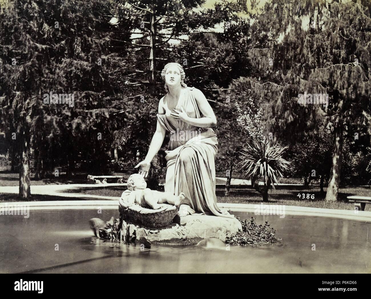 Roma, fuente de Moisés en los jardines del Monte Pincio. - Stock Image