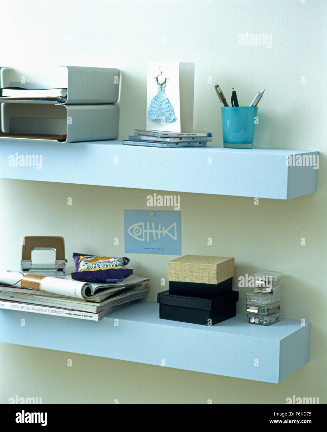 Close-up of pale blue wall shelves with filing trays and small ...