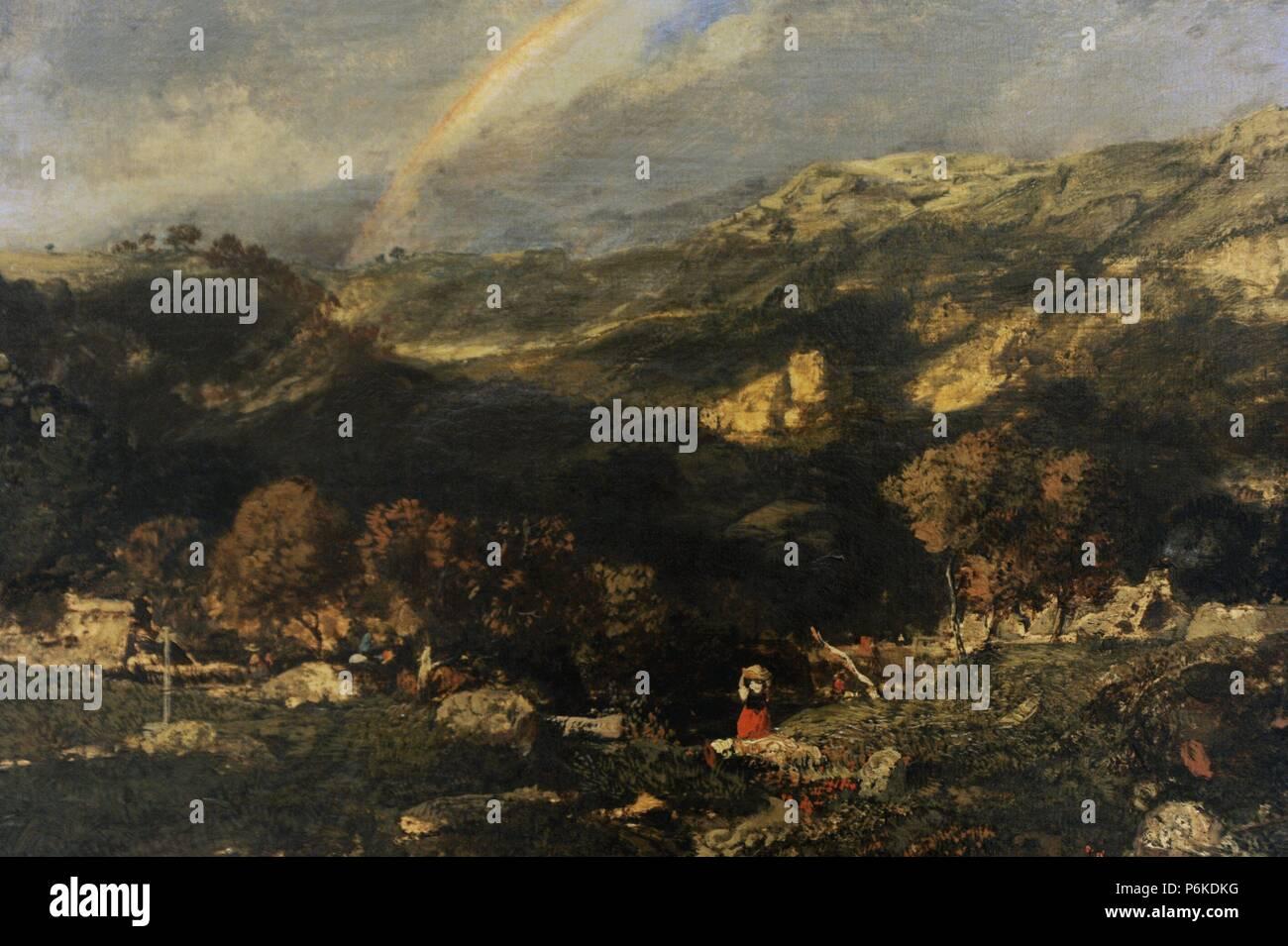Theodore Rousseau (1812-1867). French painter. Field on rain, 1834/1835. Barbizon School. National Gallery. Prague. - Stock Image