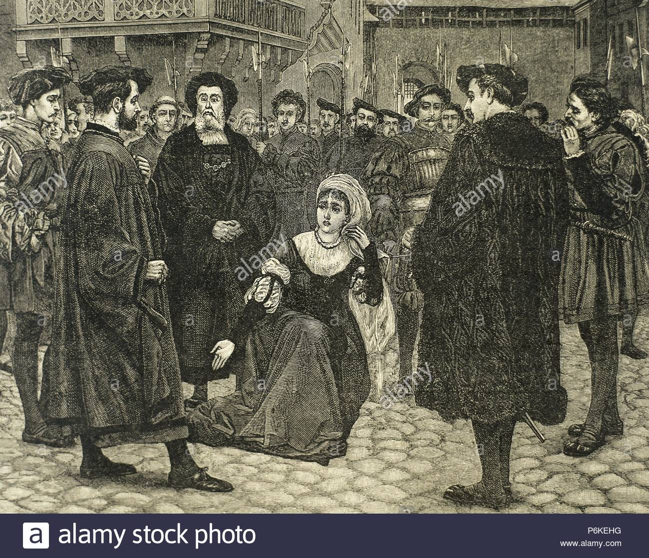 Anne Boleyn (1507-1536), Queen of England (1533-1536) as the second wife of Henry  VIII, led to the gallows to be executed by beheading after being accused ...