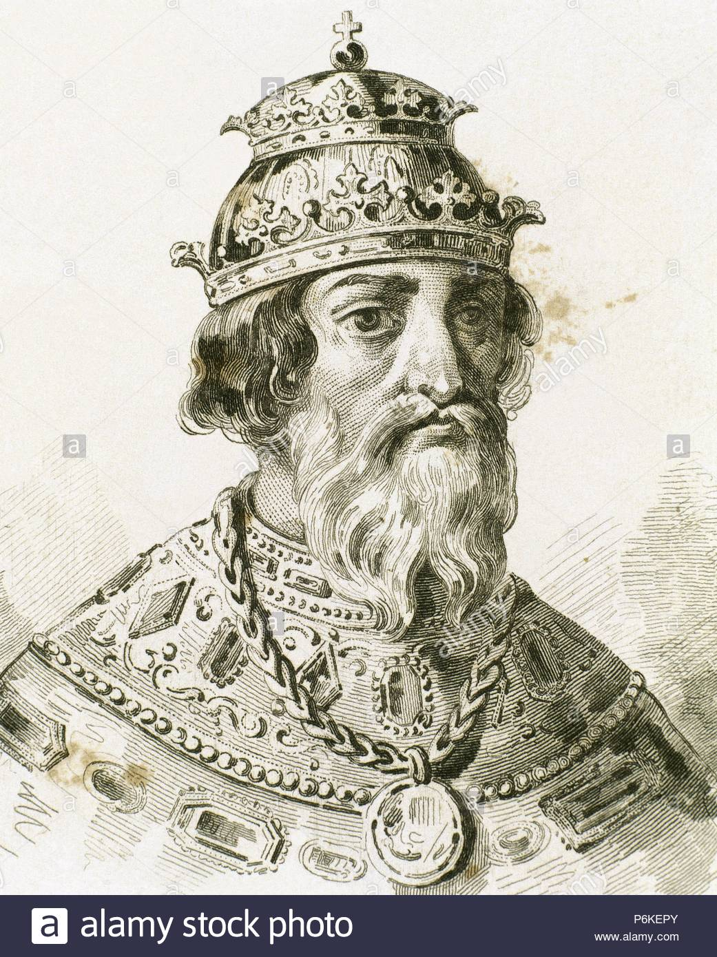 Ivan IV Vasilyevich (1530-1584), known as Ivan the Terrible. Grand Prince of Moscow (1533-1547) and Tsar of All the Russias (1547-1584). Portrait. Engraving. - Stock Image
