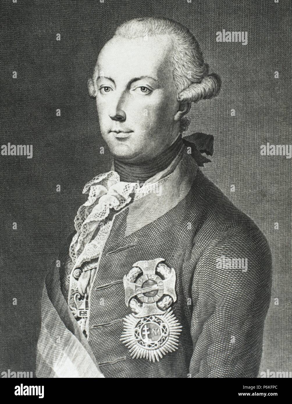 Joseph II (1741-1790). Holy Roman Emperor from 1765-1790. Portrait. Engraving. 19th century. Stock Photo