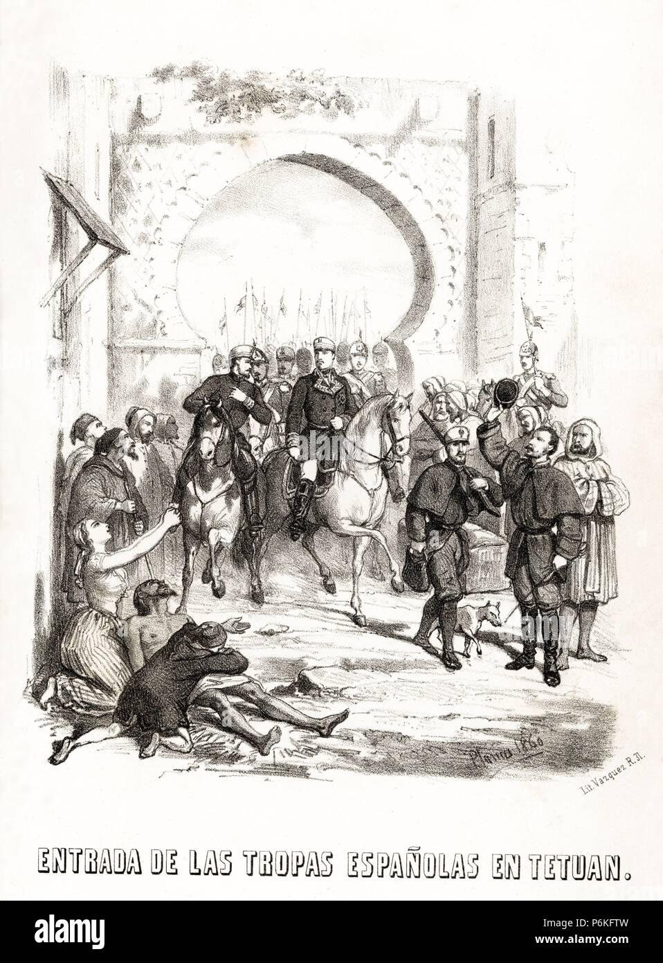España. Guerra de África. Entrada de las tropas españolas en Tetuán. Grabado de 1860. Stock Photo