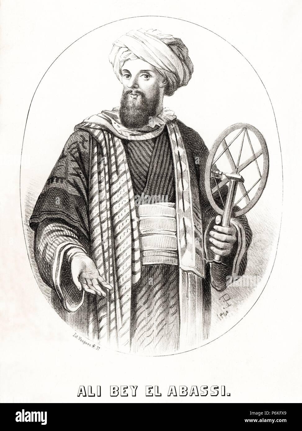 España. Domènec Badia Leblich (1766-1818), espía, aventurero y arabista catalán conocido como Ali-Bey el Abbassí. Grabado de 1860. Stock Photo