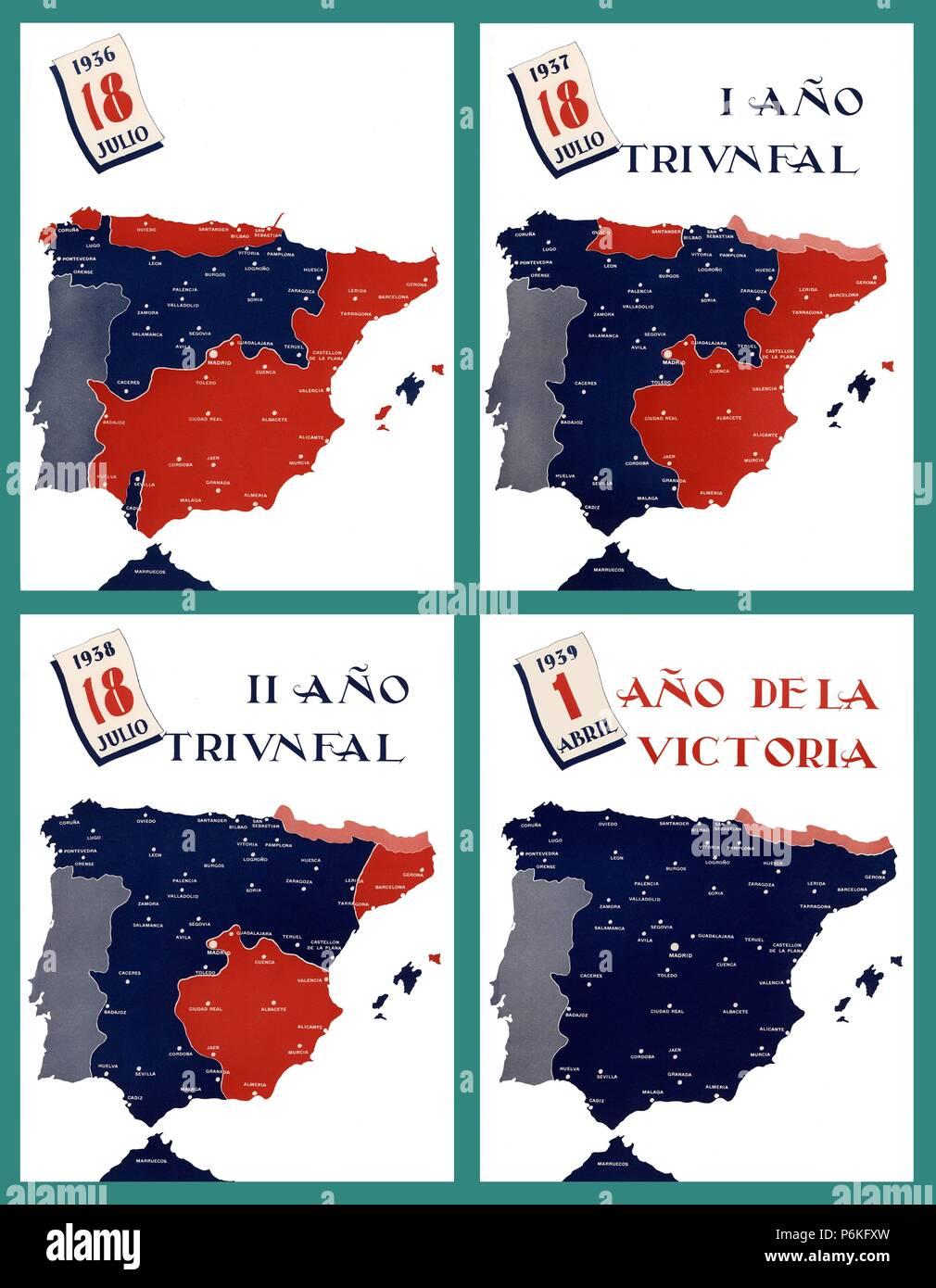 Mapa Bandos Guerra Civil Española.Mapa De Espana Y Distribucion De Los Dos Bandos