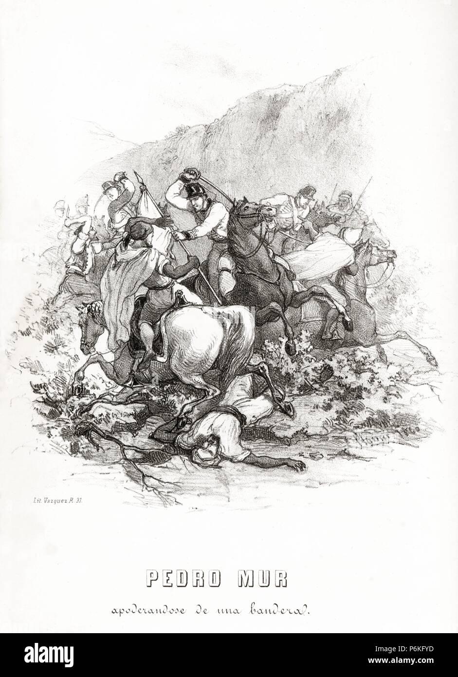 España. Guerra de África. El cabo húsar Pedro Mur arrebatando la bandera del enemigo durante una batalla en el valle de Castillejos. Grabado de 1860. Stock Photo