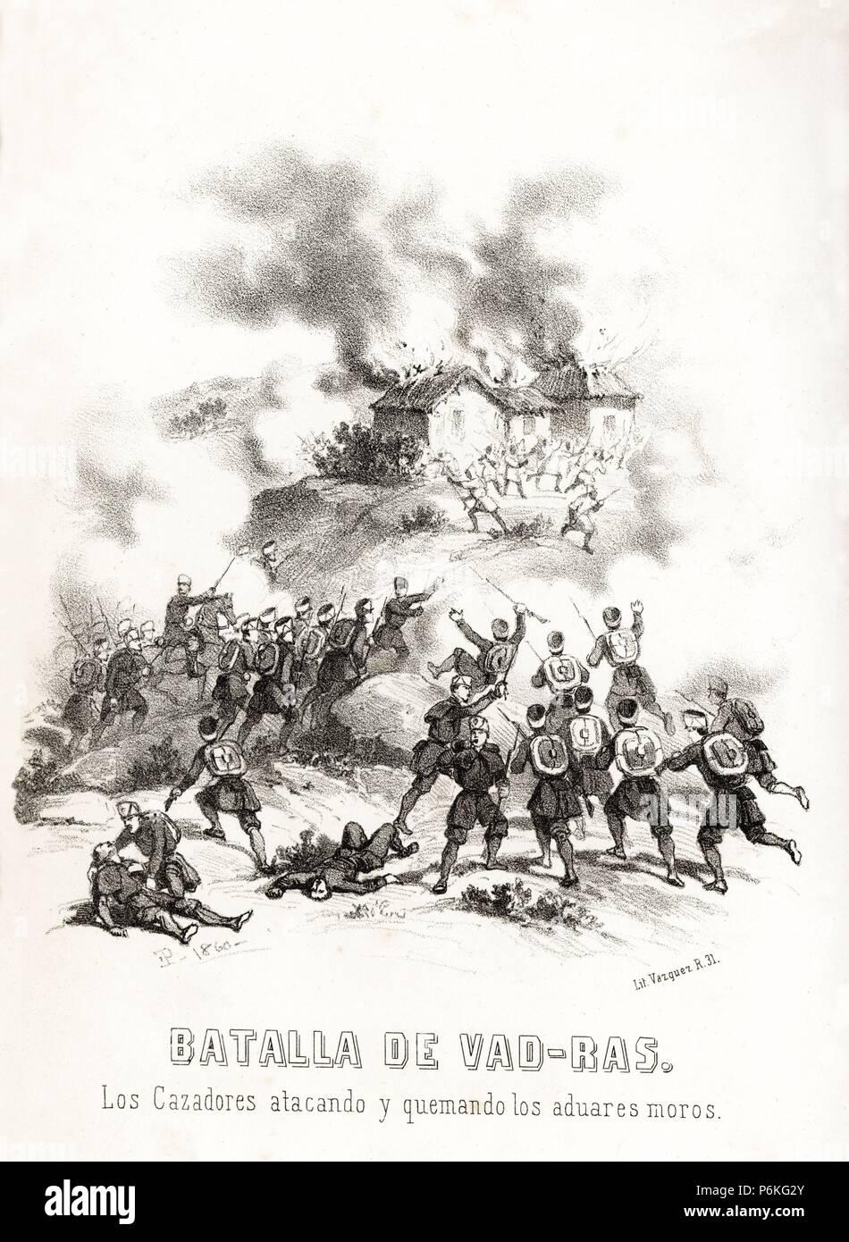 España. Guerra de África. Batalla de Vad-Ras. Los cazadores de marina atacando y quemando los aduares moros el 23 de febrero de 1860. Grabado de 1860. Stock Photo