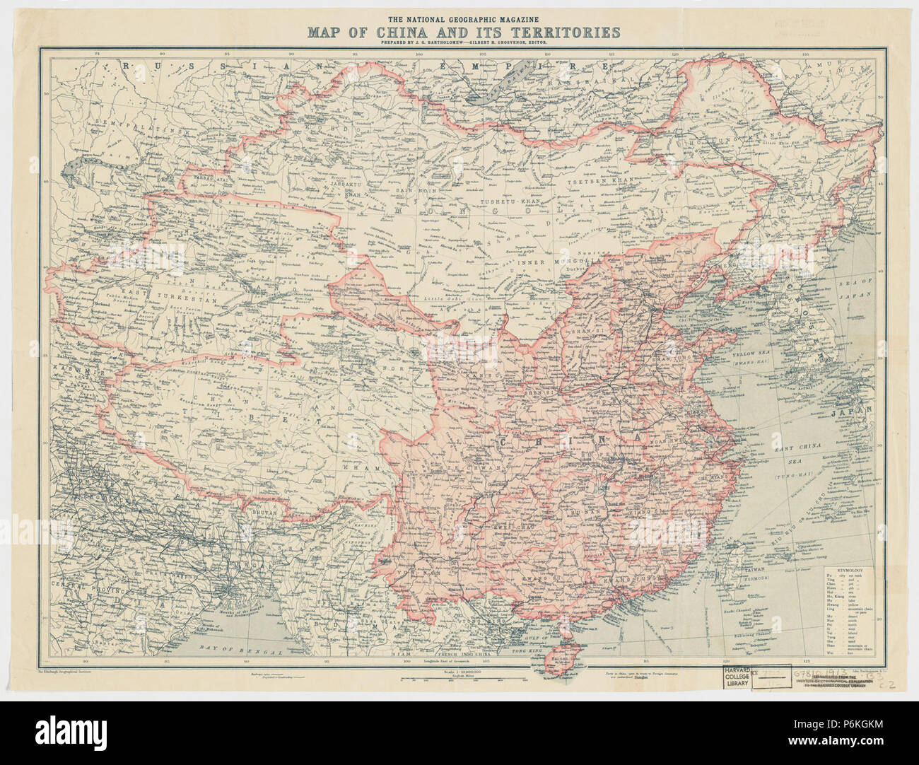 National Geographic Map Of China.1912 China Map From National Geographic Stock Photo 210642536 Alamy