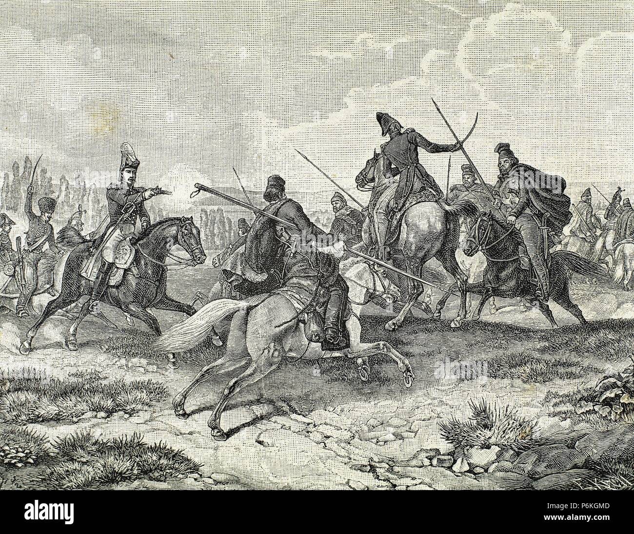 Napoleonic Wars. Struggle in Russia. Cossacks against French Army. Engraving, 19th century. Stock Photo