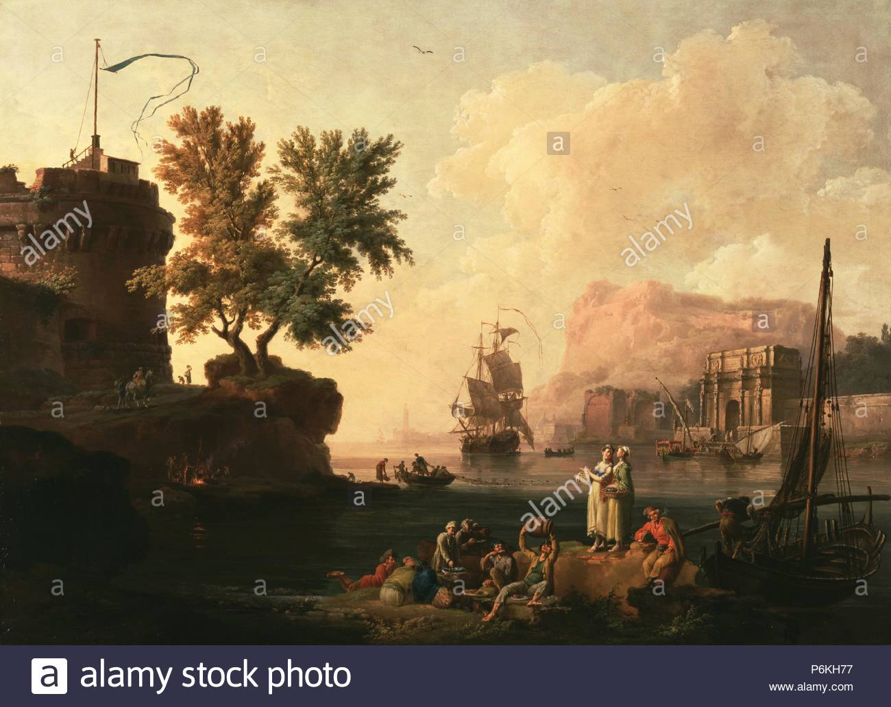 Mediterranean harbor scene pierre jacques volaire french 1729 1799 about 1763 oil on canvas unframed 96 5 x 134 6 cm 38 x 53 in