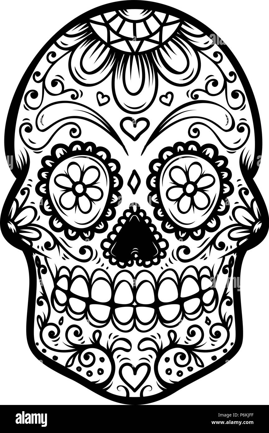 sugar skull isolated on white background day of the dead dia de