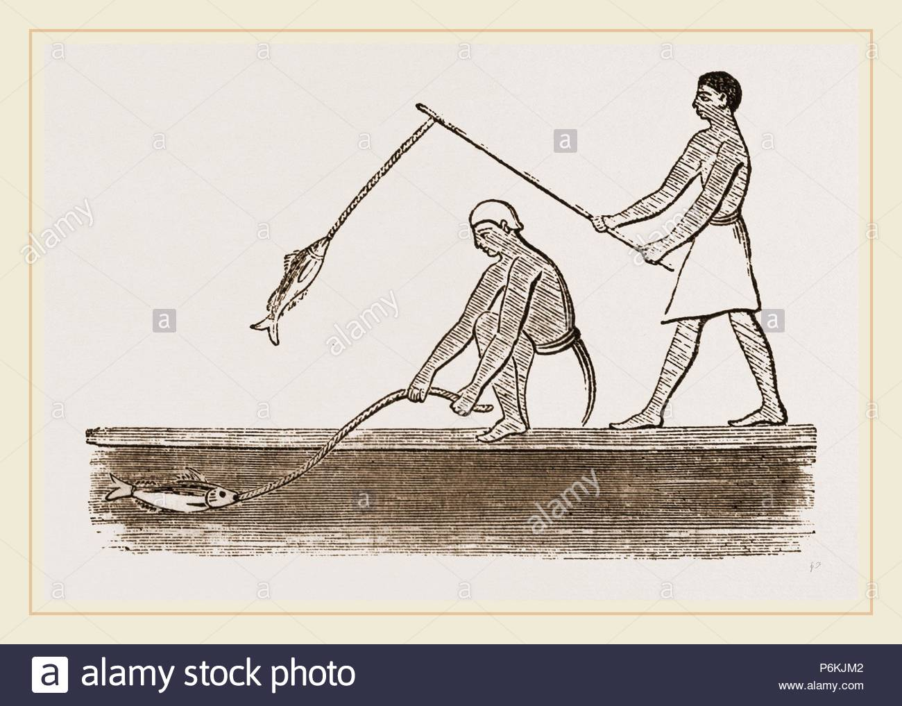 Ancient Egyptians angling, Egypt. - Stock Image