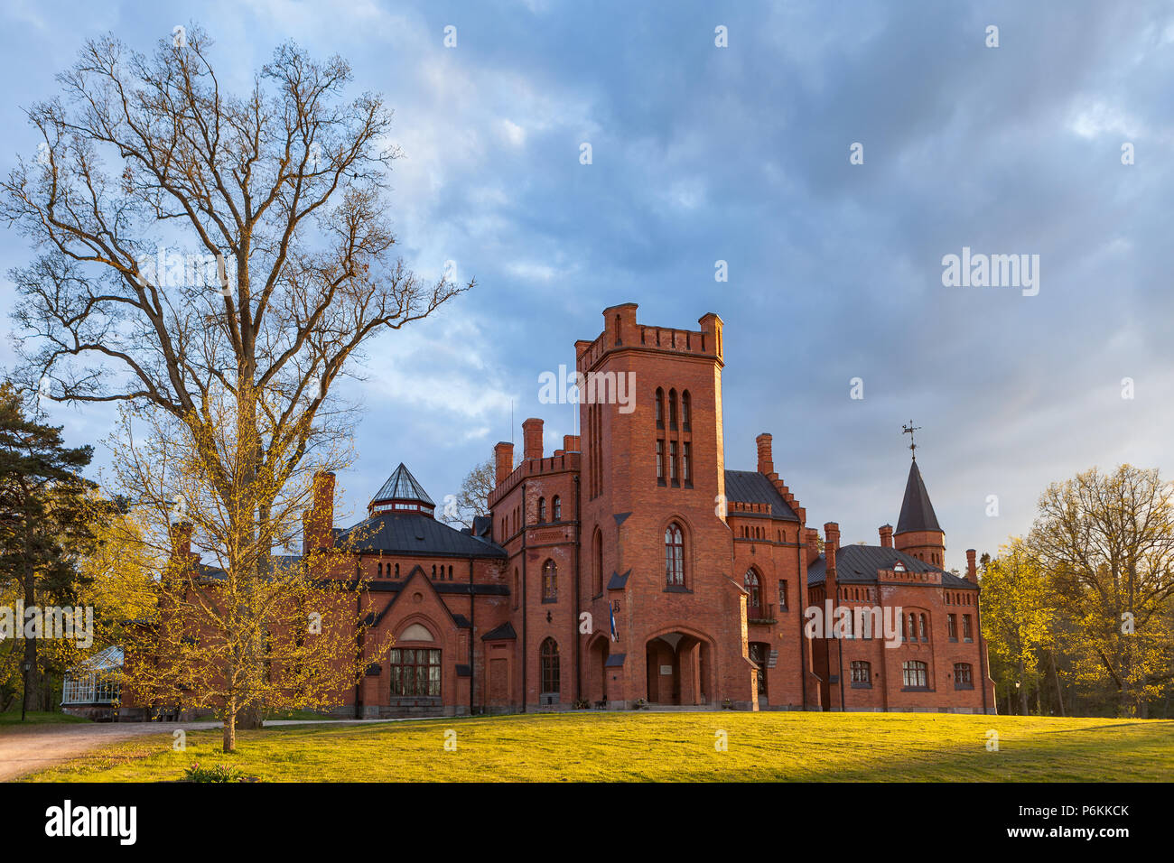 Historic sight Sangaste in Estonia. Red brick castle in the English style. - Stock Image