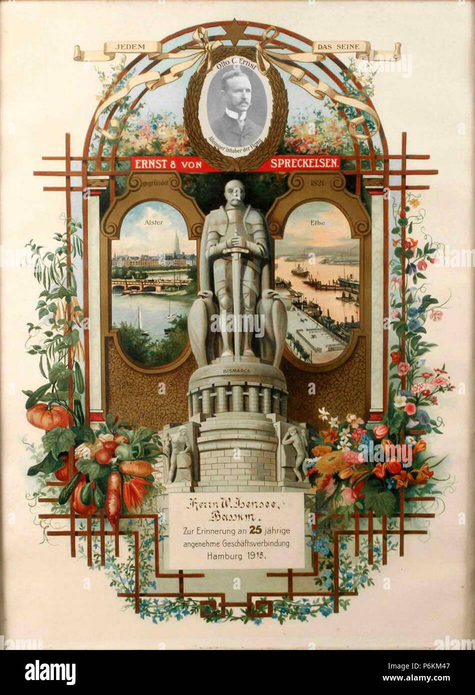1915 Ernst & von Spreckelsen Urkunde 25-jährige Geschäftsverbindung mit W. Ibensee in Bassum, Chromolithografie. - Stock Image
