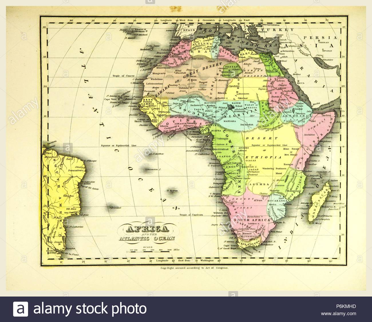 Map Africa, 19th century engraving Stock Photo: 210645609   Alamy