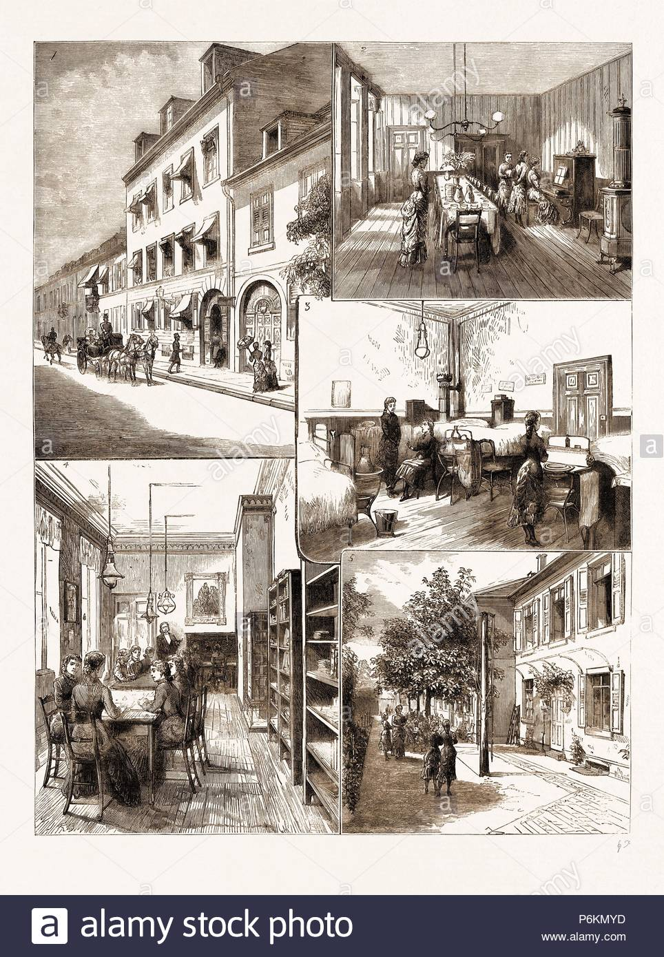 THE VICTORIA SCHOOL FOR GIRLS, CARLSRUHE, UNDER THE DIRECTION OF H.R.H. THE GRAND DUCHESS OF BADEN, GERMANY, 1883: 1. The Exterior of the Victoria School. 2. The Dining Room. 3. Dormitory. 4. A School Room. 5. The Garden. - Stock Image