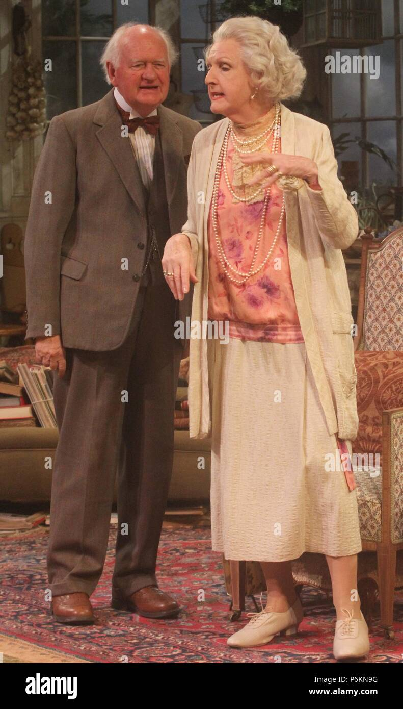 Penelope Keith plays Mrs.St.Maugham in a new production of 'The Chalk Garden' at Chichester Festival Theatre  Featuring: Penelope Keith, Oliver Ford Davies Where: Chichester, United Kingdom When: 30 May 2018 Credit: WENN.com - Stock Image