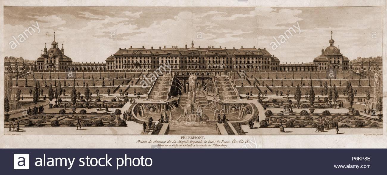 Peterhoff. Maison de plaisance de Sa Majeste Imperiale de toutes le Russie &c.; [no date recorded on shelflist card]; 1 print. - Stock Image