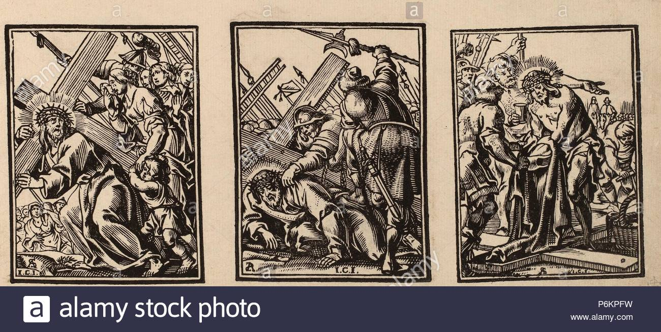 Christoffel Jegher after Anthonis Sallaert (Flemish, 1596 - 1652-1653), Three Scenes on the Road to Calvary, c. 1649, 3 woodcuts. - Stock Image