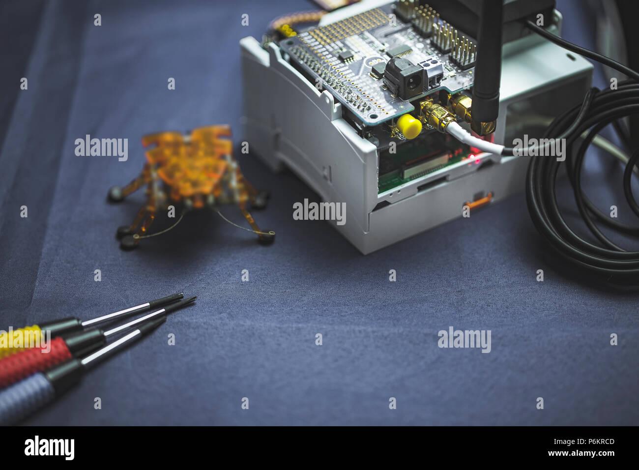 Internet of thing (IoT) Electronics Hardware and software development kit. - Stock Image