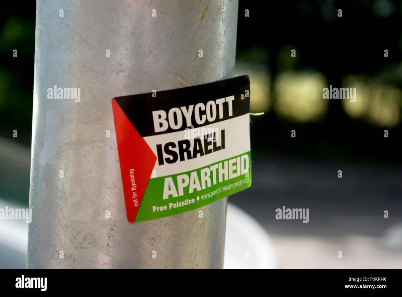 Boycott Israel Sticker - Stock Image
