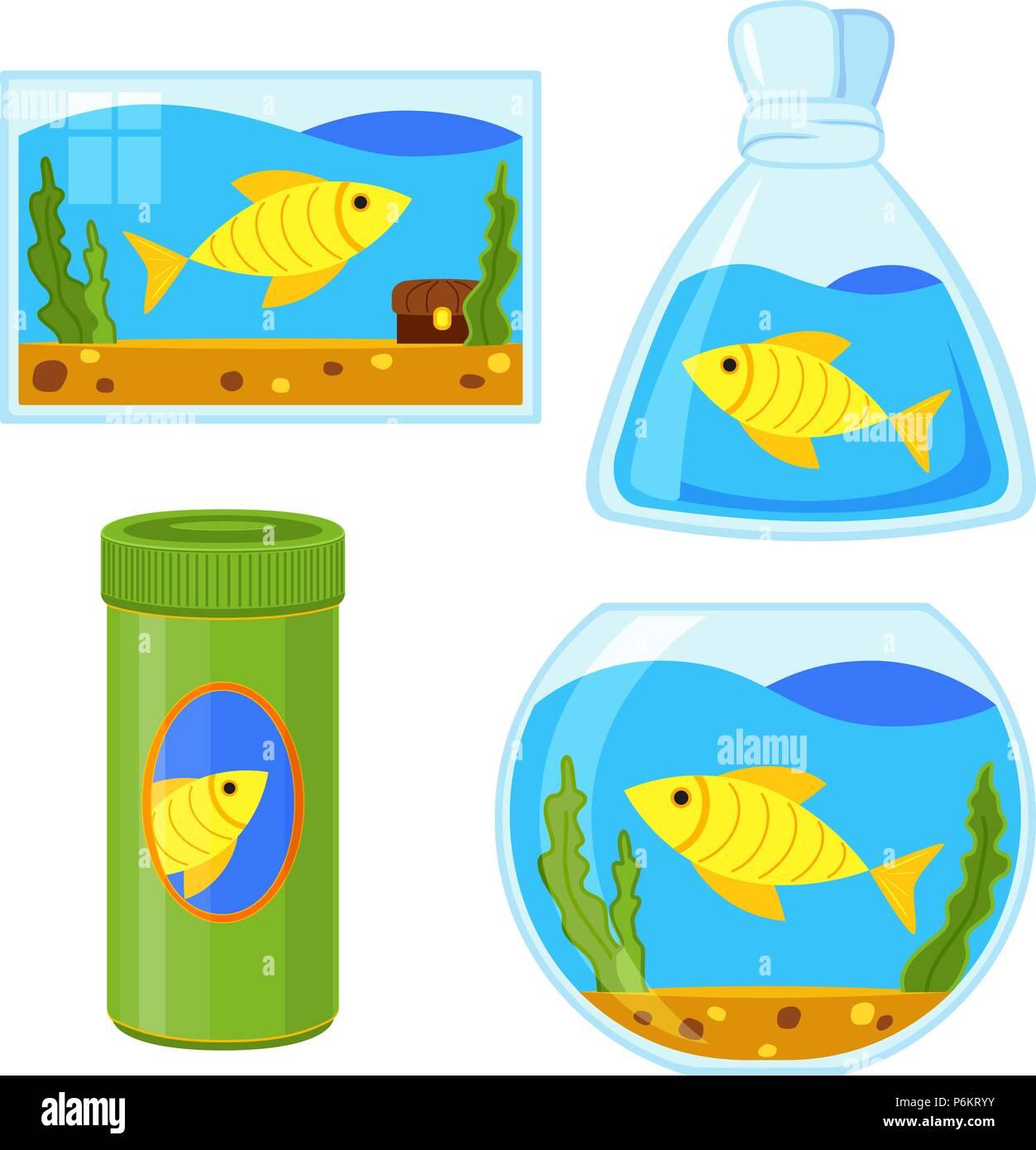 Colorful cartoon fish elements set - Stock Image