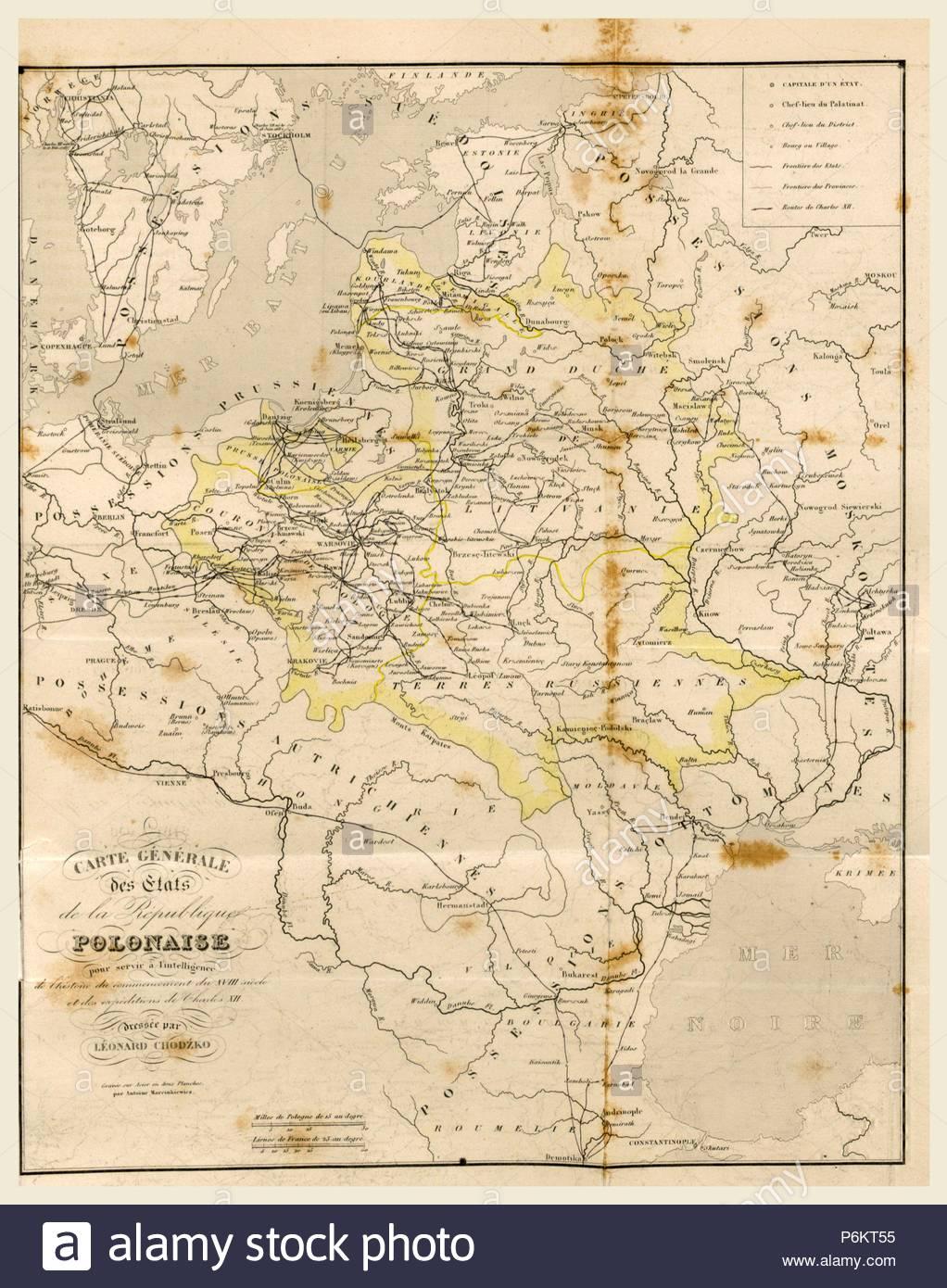 Map Poland, 19th century engraving. - Stock Image
