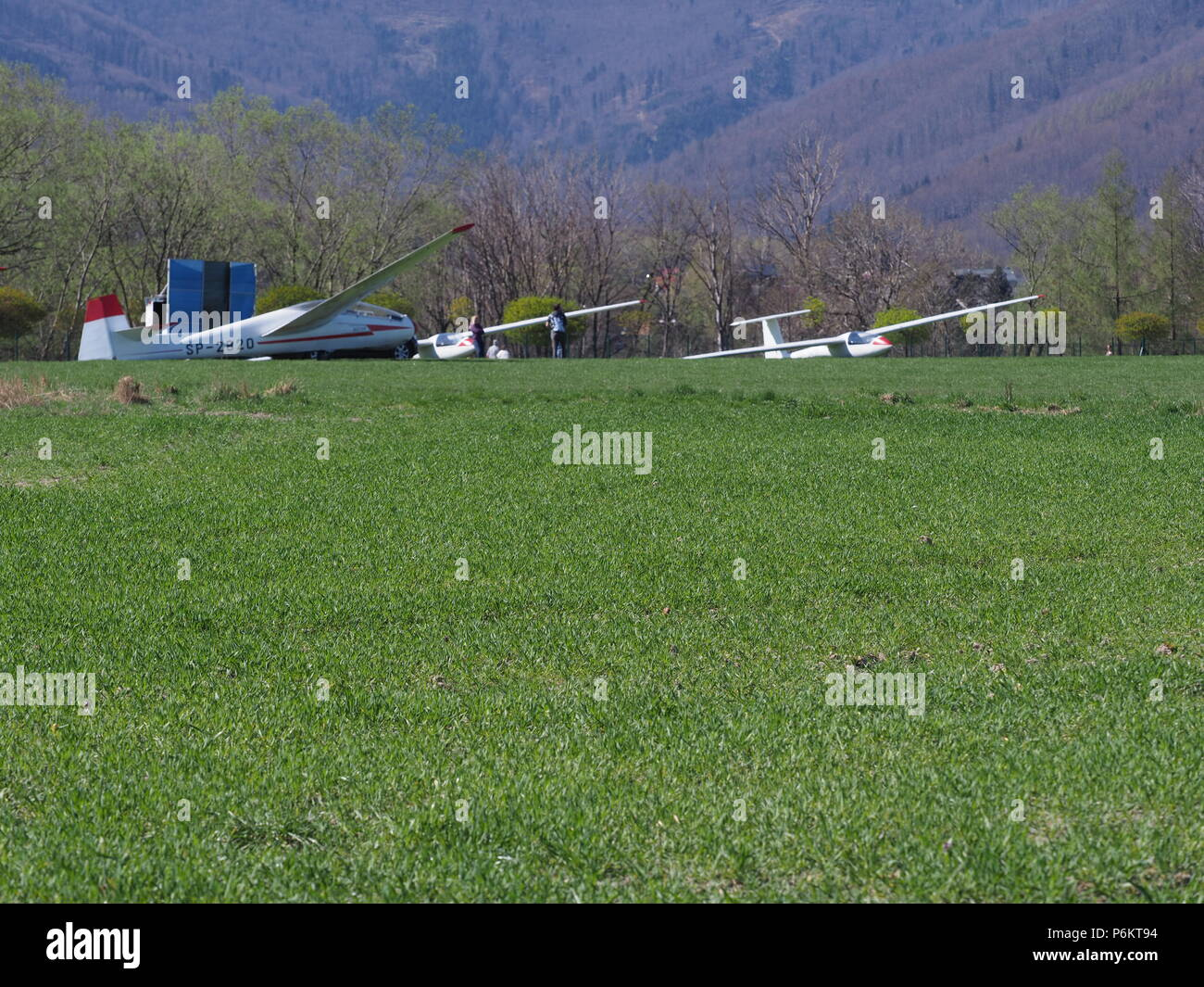 Close-up to three gliders lay on grassy airfield belongs to air club at european Bielsko-Biala city in Poland - Stock Image