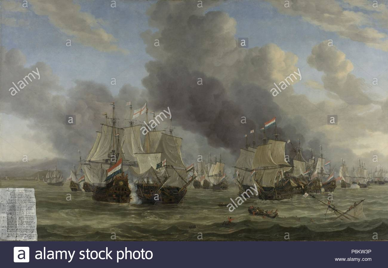 The Battle of Livorno, Reinier Nooms, 1653 - 1664. Stock Photo