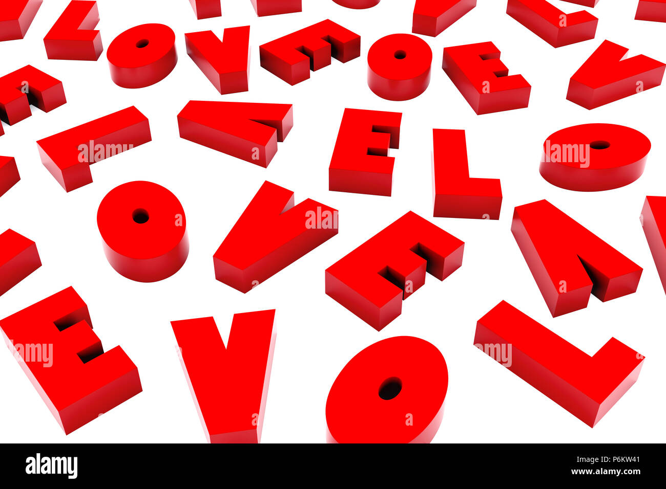 3d backdrop made of red computer rendered letters L O V E scrambled and replicated isolated - Stock Image