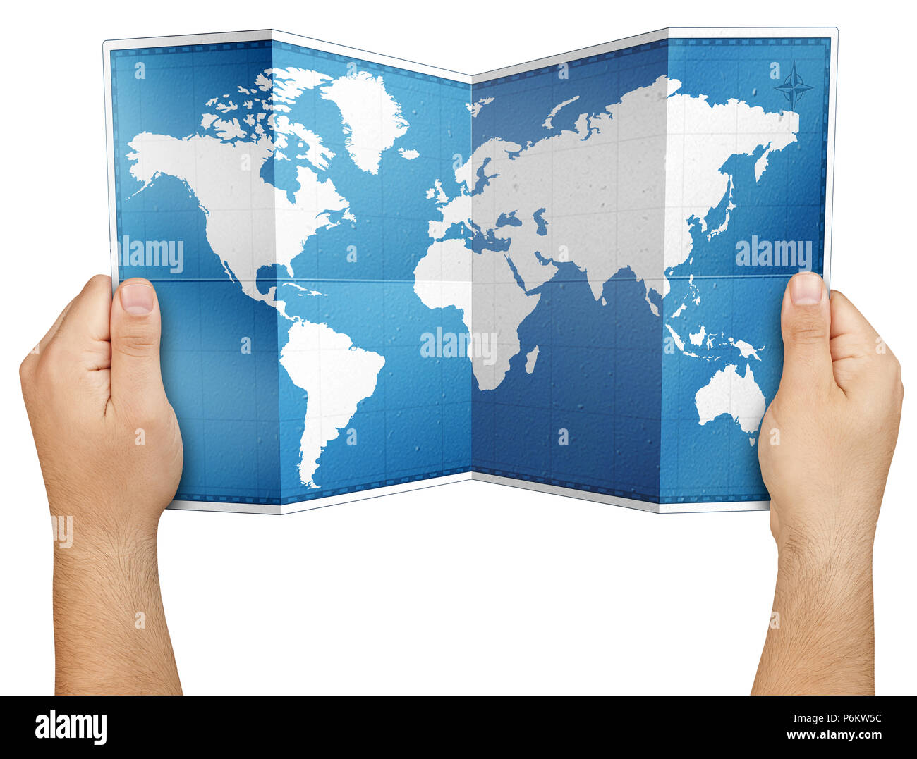 World Map On Hands.Hands Holding Open Folded World Paper Map Isolated Stock Photo