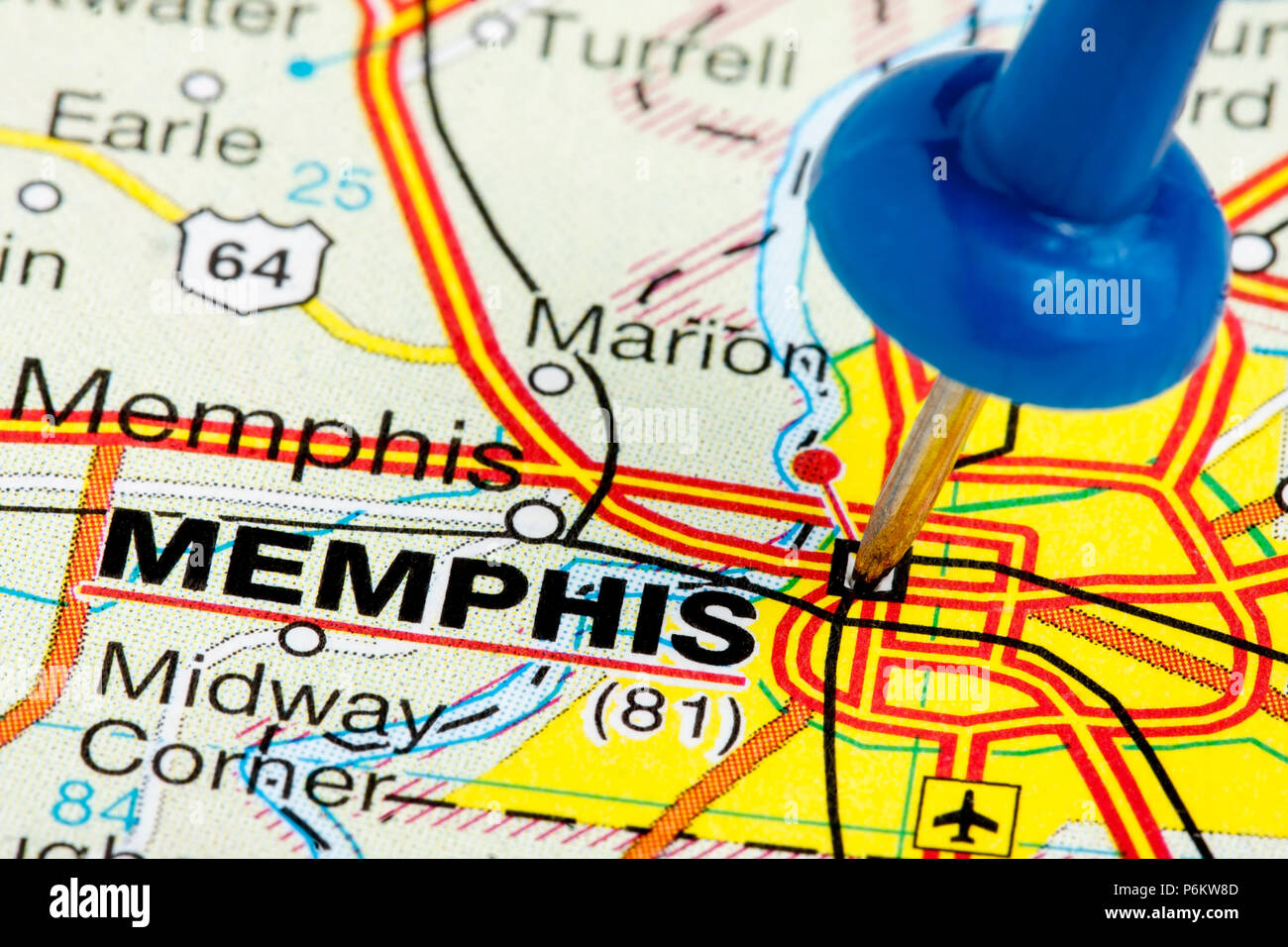 Memphis Tennessee highlighted with blue push pin on atlas or map ...