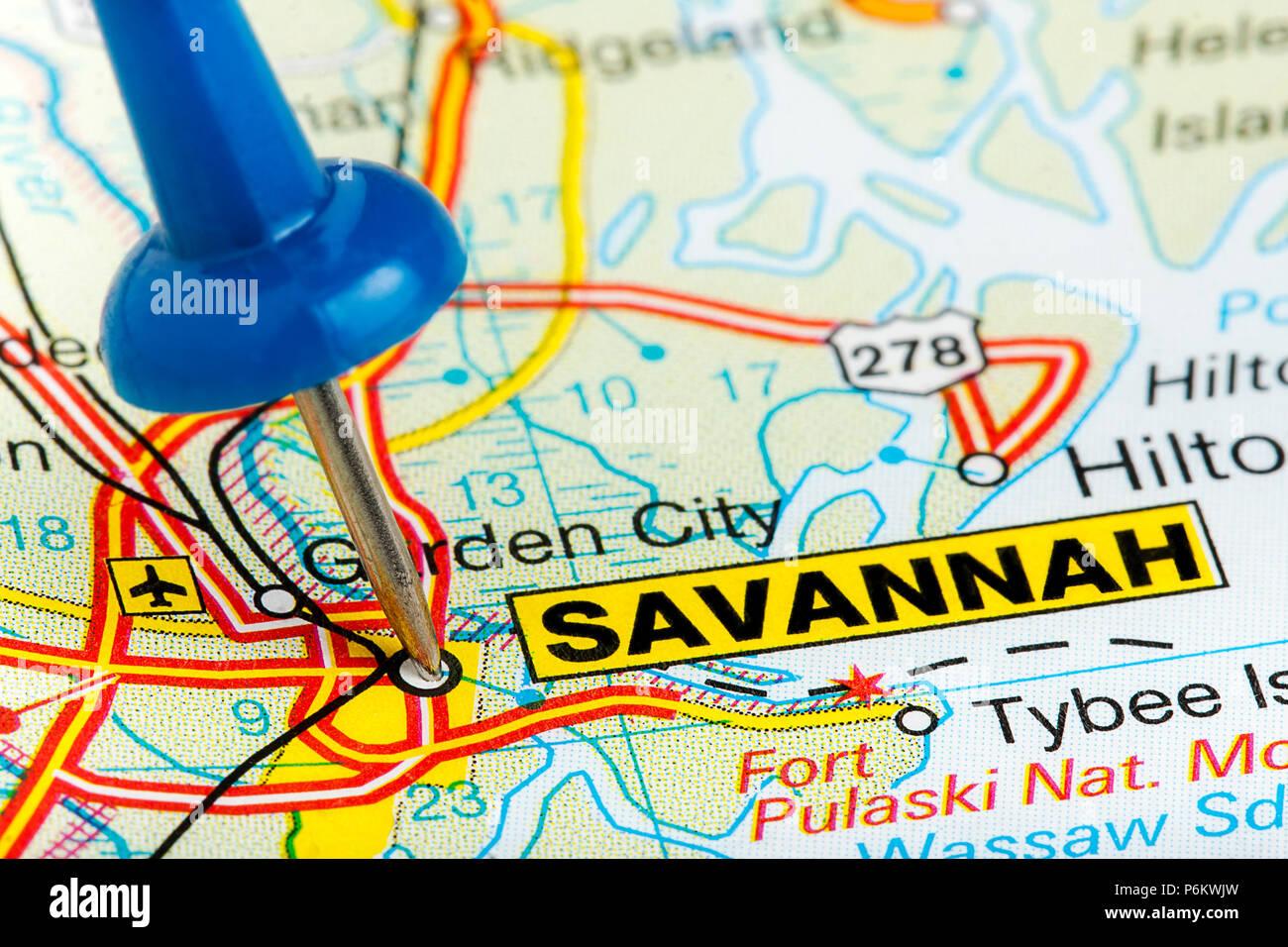 Savannah Georgia highlighted with blue push pin on atlas or ... on united states map, georgia islands map, louisville georgia map, georgia state map, geogria map, valdosta georgia map, south carolina map, milledgeville georgia map, georgia beach map, richmond hill georgia map, florida map, savannah state university, georgia road map, fulton county georgia map, new york new york map, northeast georgia map, springfield georgia map, miami map, albany georgia map, usa map,