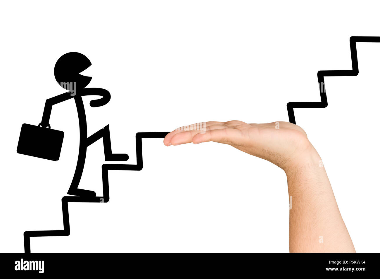 Carefree stylised businessman walking up stairs of success awareness consultant helps him in case of difficulty isolated - Stock Image
