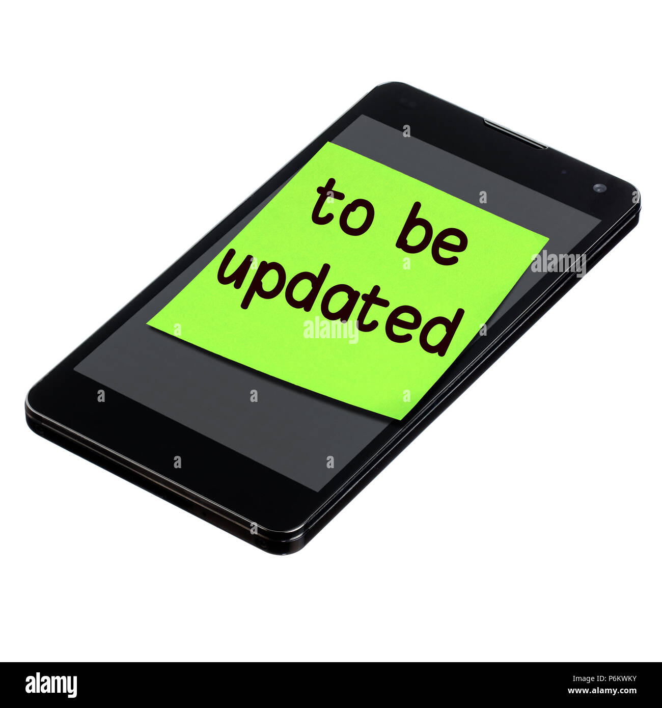 smartphone with postit to be updated text sticked on screen isolated Stock Photo