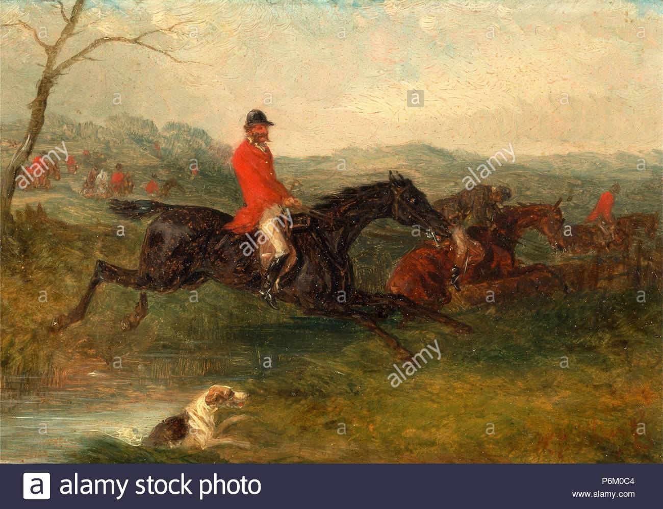Foxhunting: Clearing a Brook Signed and dated in red paint, lower right: 'WJ Shayer | 63', William J. Shayer, 1811-c.1885, British. - Stock Image
