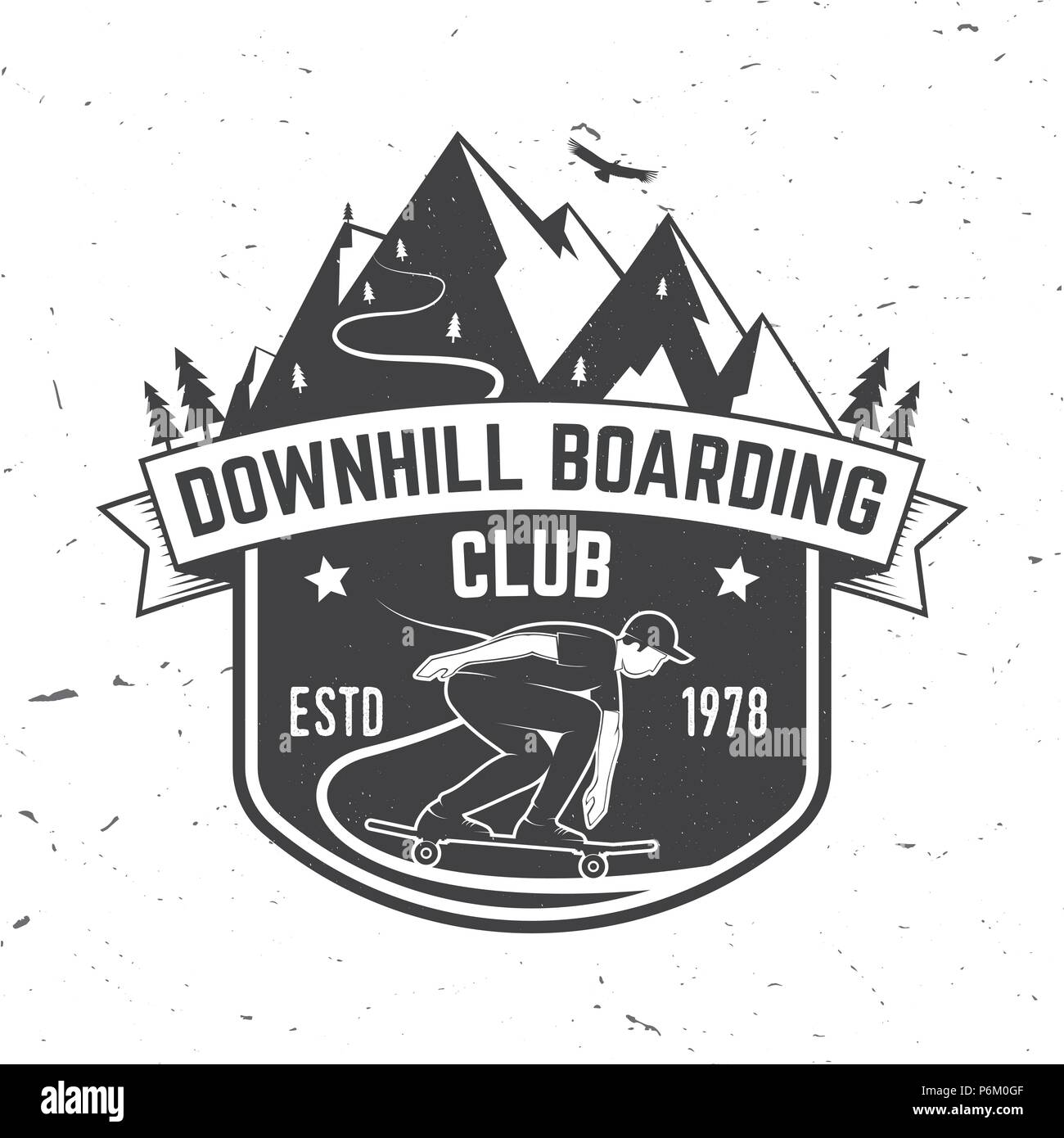 Downhill boarding club badge. Vector illustration. Extreme sport. For skate club emblems, signs and t-shirt design. Skateboard typography design with skateboarder on the longboard and text. Stock Vector