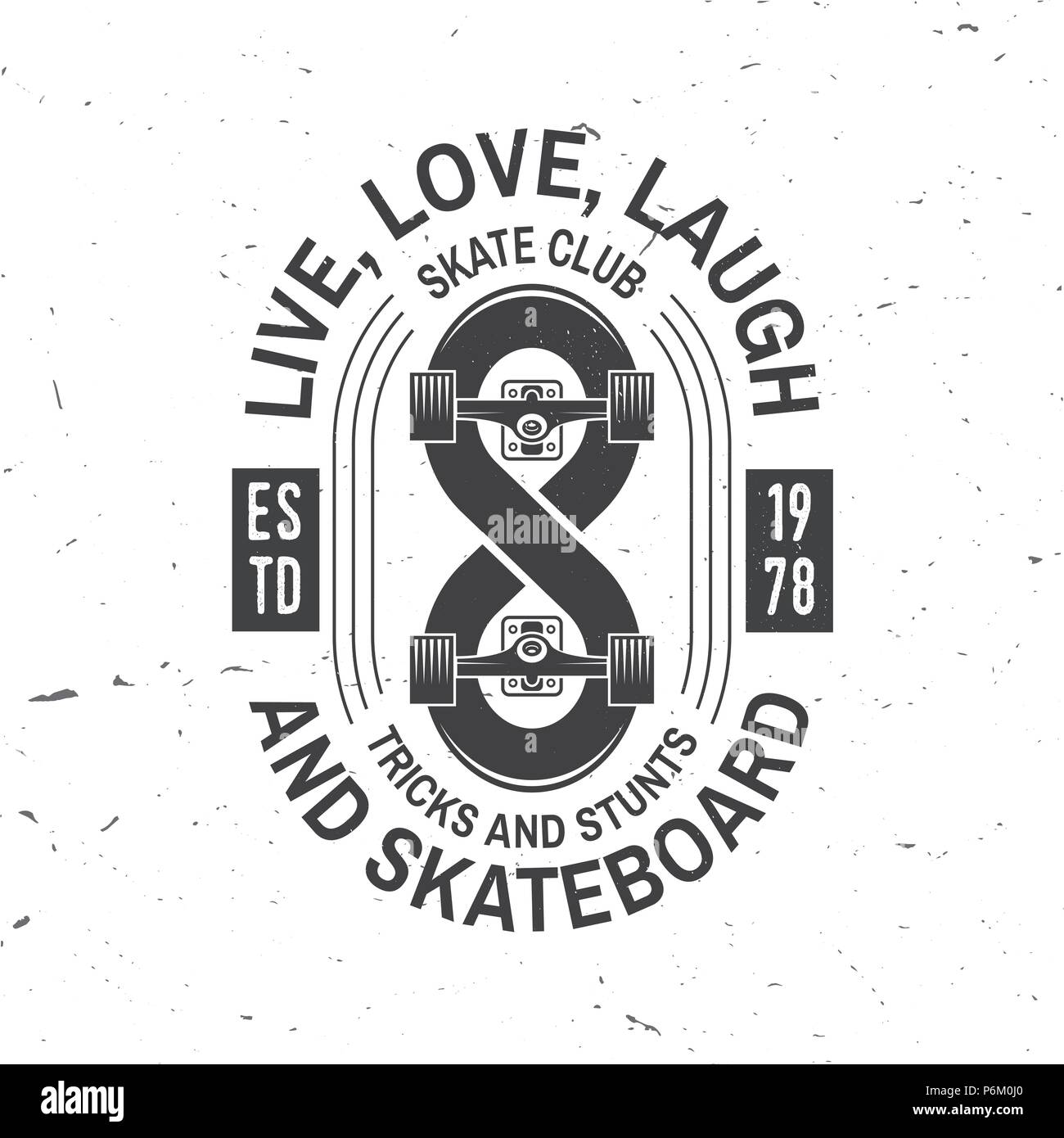 Skateboard Club Badge Vector Illustration Extreme Sport For Skate