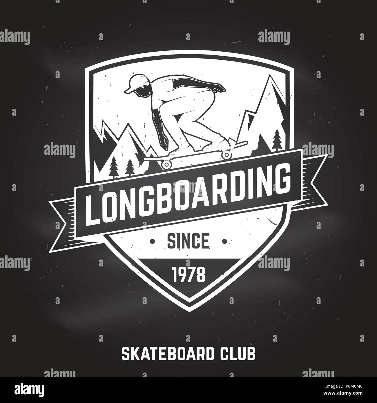 Longboarding sign on the chalkboard. Vector illustration. Extreme sport. For skate club emblems, signs and t-shirt design. Skateboard typography design with skateboarder on the longboard and text. Stock Vector