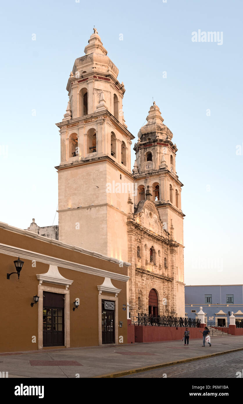 the san francisco de campeche cathedral in the evening light, mexico Stock Photo
