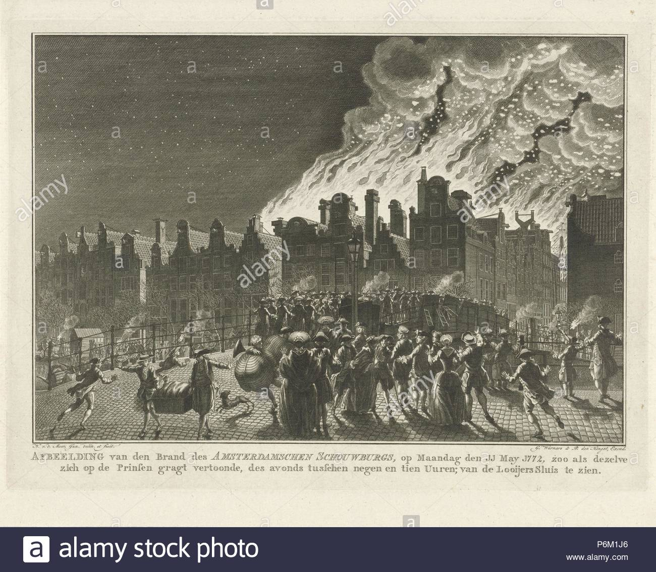 Uncontrollable fire in the Amsterdam theater seen from the Prinsengracht, The Netherlands, 1772, Noach van der Meer (II). - Stock Image